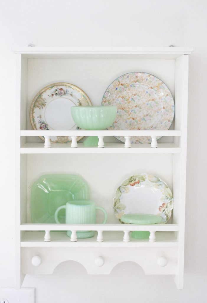 A cute little wood plate shelf- plate rack- wood shelf- jadeite- vintage china- thrifted plates- peninsula- kitchen decor- kitchen decorating- cottage kitchen decor