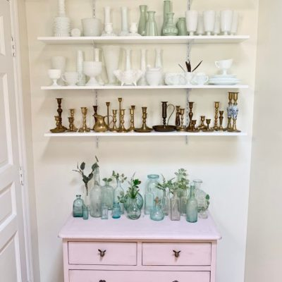 New Shelving in a Small Nook, collections, collectibles, displaying collectibles, wall shelving, DIY shelving, small space display, milk glass decor, brass candlesticks, white milk glass, vintage collections, displaying vintage items