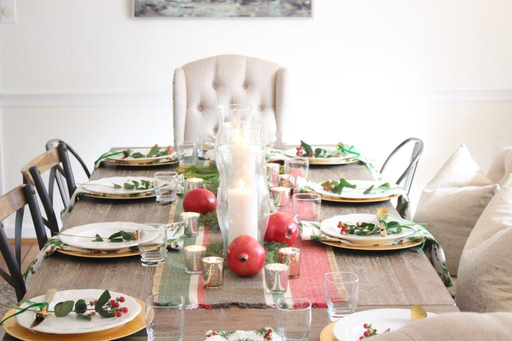 Elegant Christmas Table Setting- pomegranates- table- Christmas table- red and green table- elegant table setting- dining room decor- dining table- candlelight Christmas table