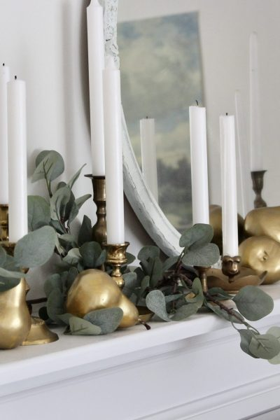 Dressing a Fall Mantel with Vintage Candlesticks and DIY Pears