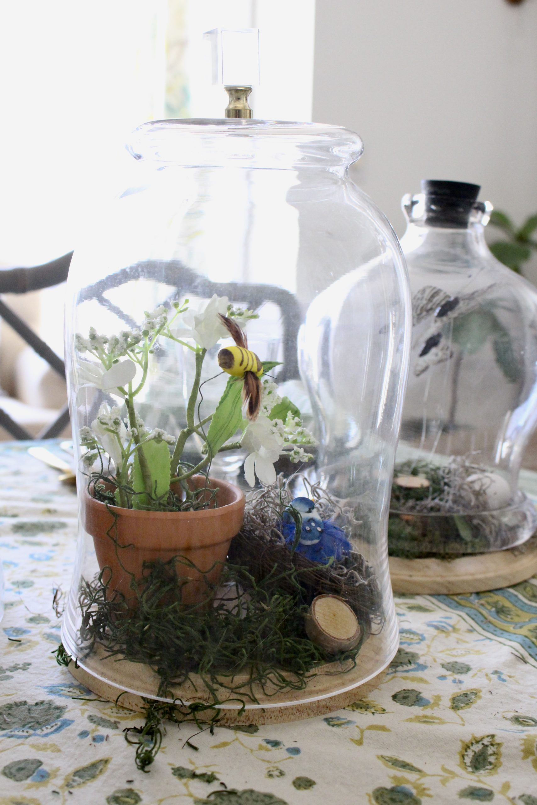 Spring Table Using Glass Cloches~ White Cottage Home & Living