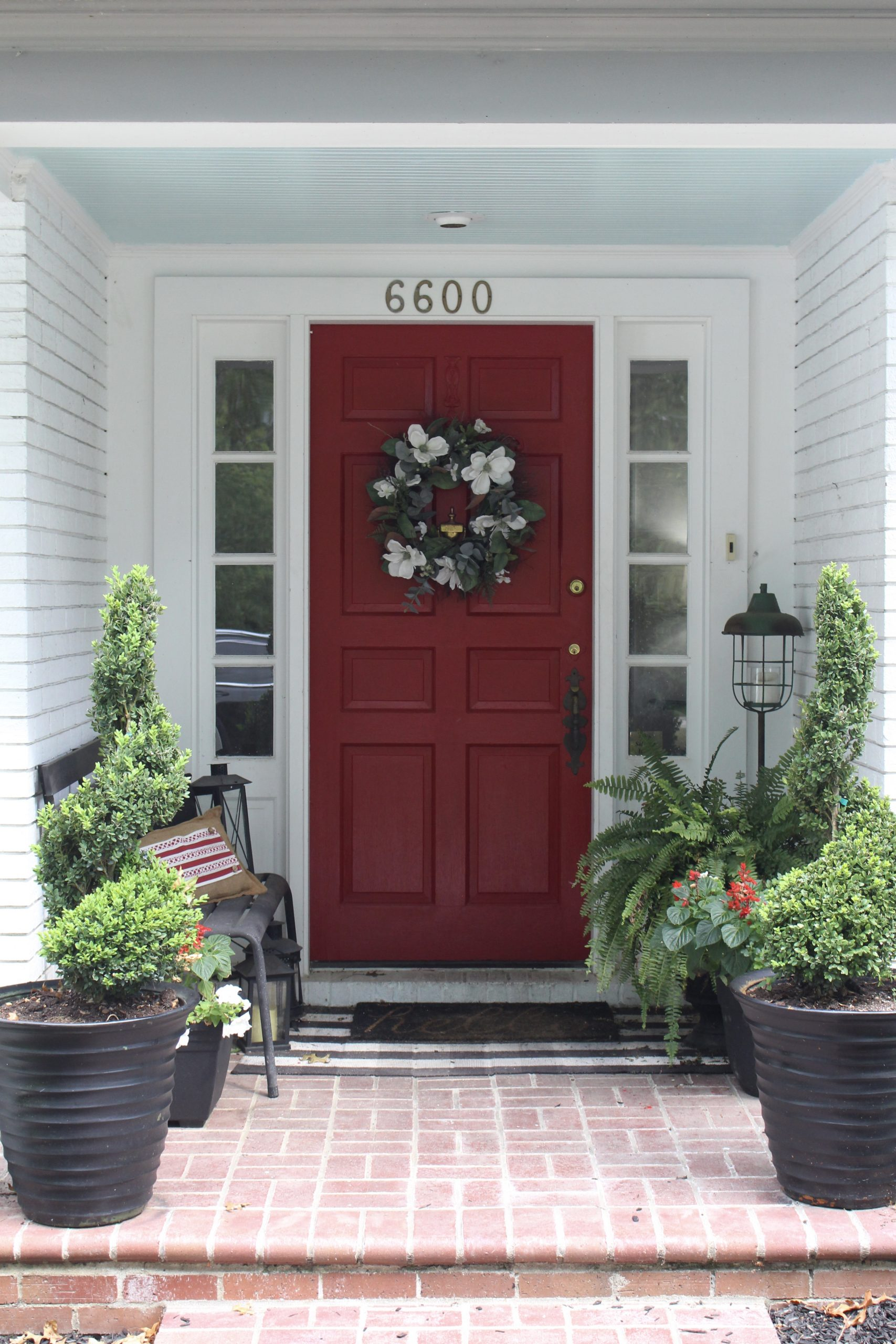 Red Door on Exterior White Brick Ranch Home~ White Cottage Home & Living