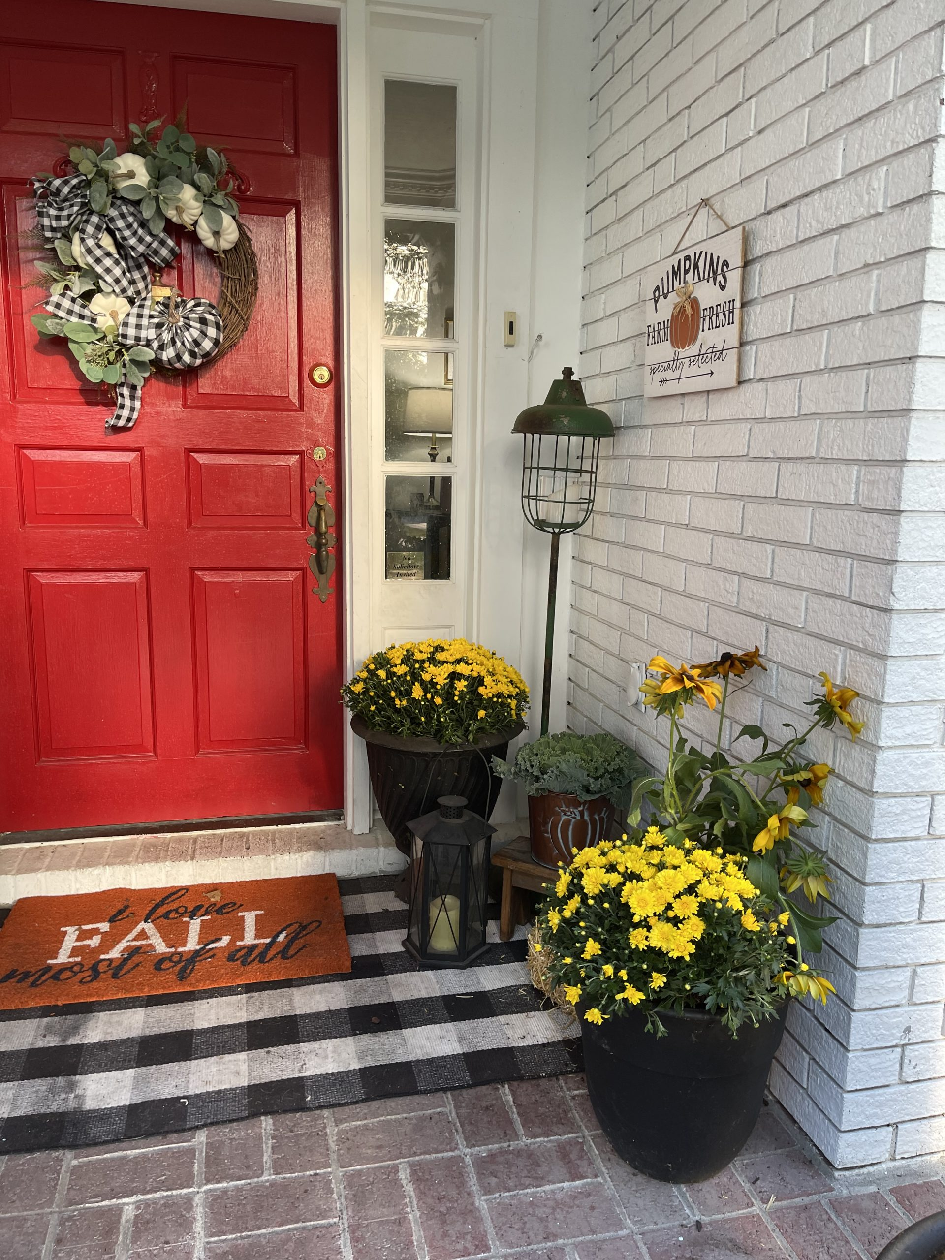 Red Front Door and a bright and cheery fall porch!