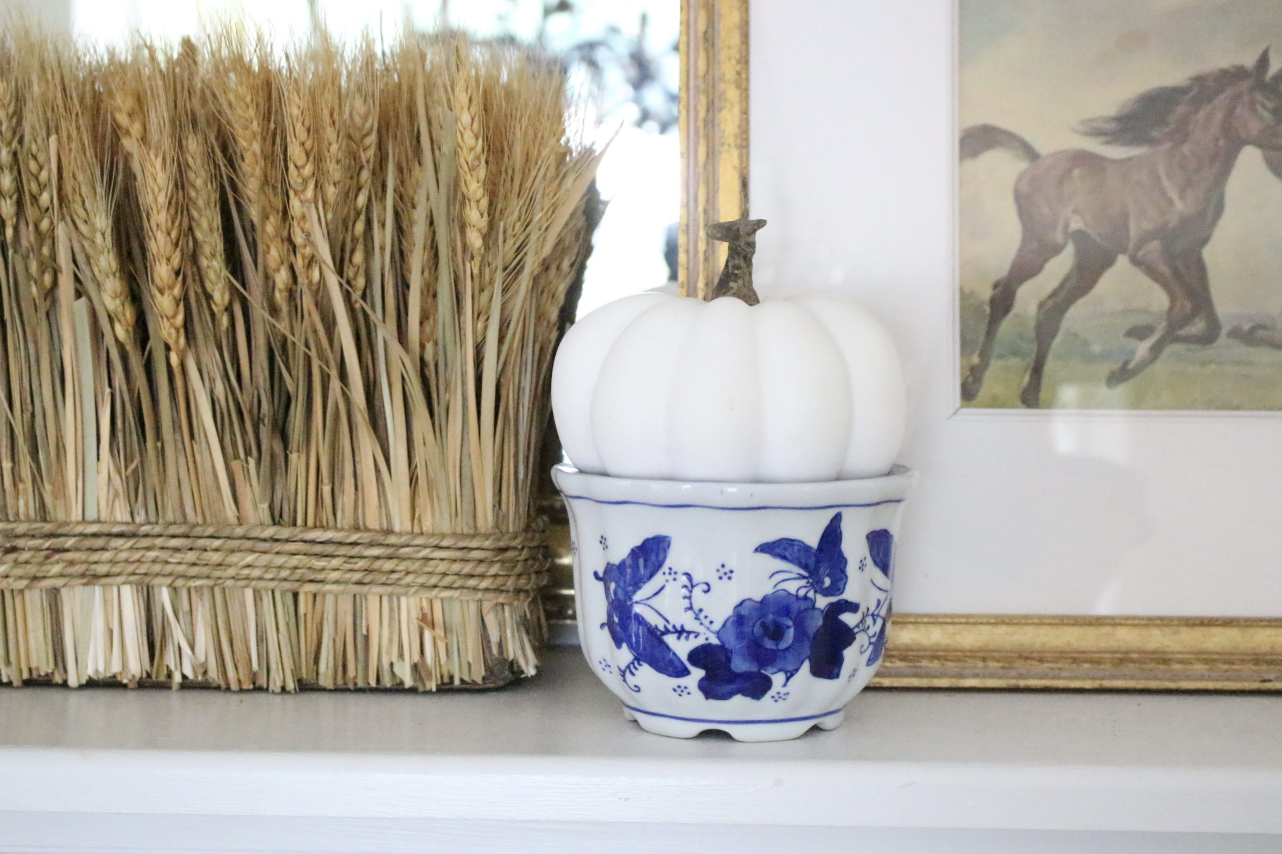Simple Fall Mantel with Blue~ White Cottage Home & Living