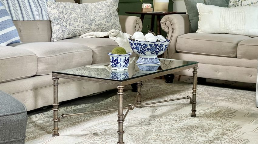 Updating a Glass & Metal Coffee Table with Rub-N-Buff