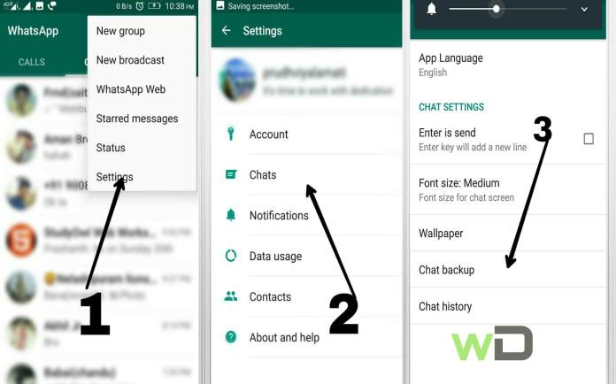 how to backup chat conversation on whatsapp