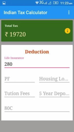 TAX CALCULATOR app