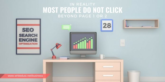 In reality most people do not click beyond page 1 or 2 of the results before trying a different search; you need to be on those pages.