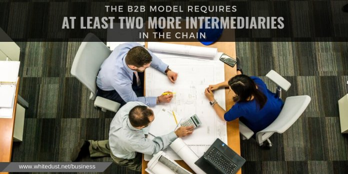 the b2b model requires at least two more intermediaries in the chain
