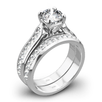 Cathedral Pave Diamond Wedding Set | 3709
