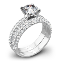 """Rounded Pave"" Diamond Wedding Set"