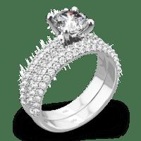 """Rounded Pave"" Diamond Wedding Set | 1480"