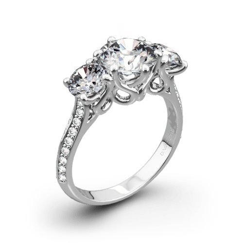 """3 Stone """"Swan"""" Diamond Engagement Ring by Vatche"""
