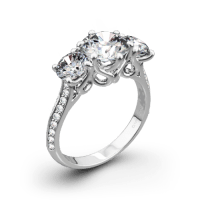 "3 Stone ""Swan"" Diamond Engagement Ring by Vatche"