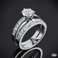 "tiffany style ""Bead-Set"" Diamond Wedding Set 