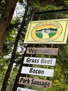 White Gates Farm has veggies, grass fed beef, bacon, pork sausage