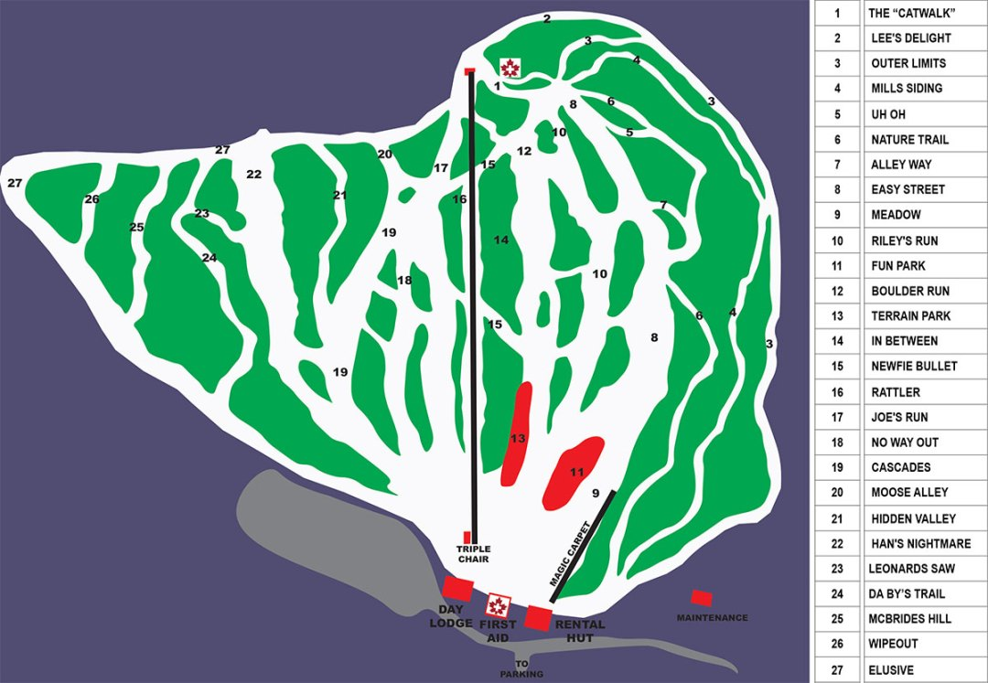 White HIlls Resort Downhill Trail Map