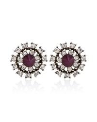 Burgundy Silver Stud Earring - White House Black Market