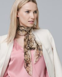 Silk Snake-Print Oblong Scarf - White House Black Market