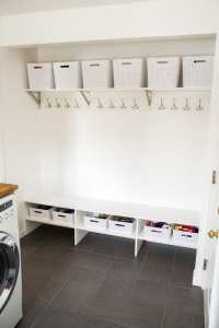 Small Laundry Room Remodel - white house black shutters