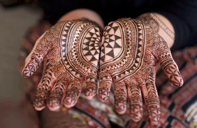 black henna tattoo on hands design