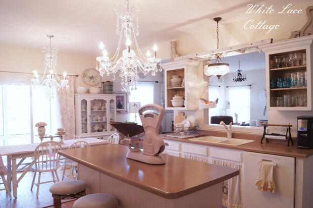 kitchen chandeliers recessed lights in crystal shabby romantic white lace cottage