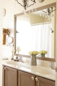 DIY Bathroom Mirror Frame Update