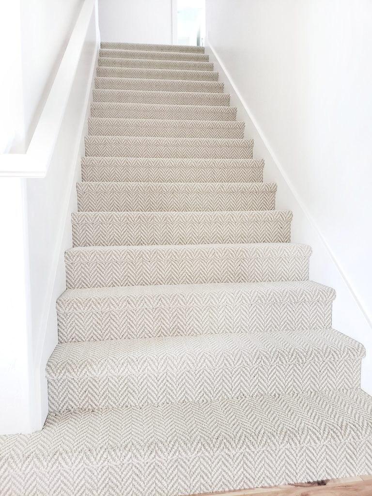 Stanton Carpet Stair Update White Lane Decor | Dark Carpet On Stairs | Gray | Monochrome | Wall | Modern | Metal Bar On Stair