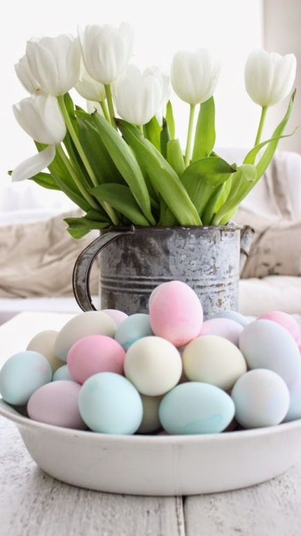 my rustic farmhouse, easy easter decor, white tulips