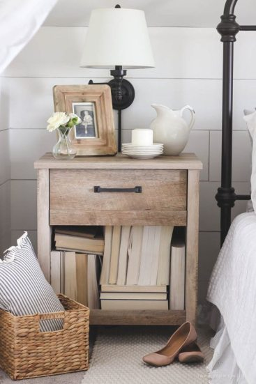 Rustic Side table in White Bedroom
