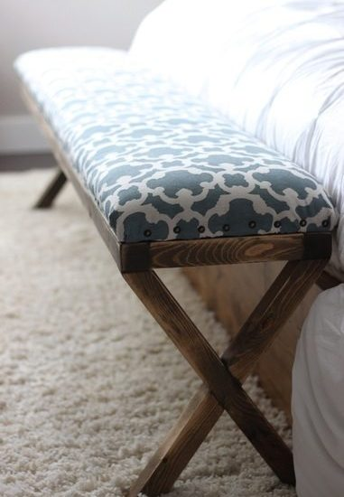 Super Easy DIY Upholstered X Bench