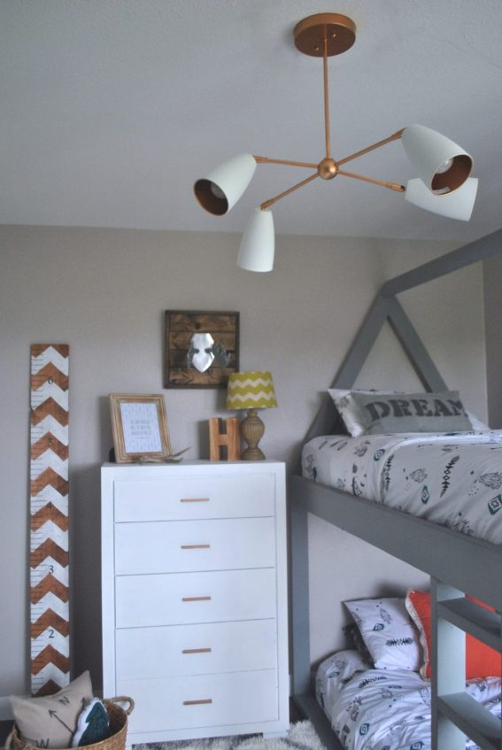 DIY Dresser, Copper LIght Fixture, Easy DIY Dresser, Painted Dresser