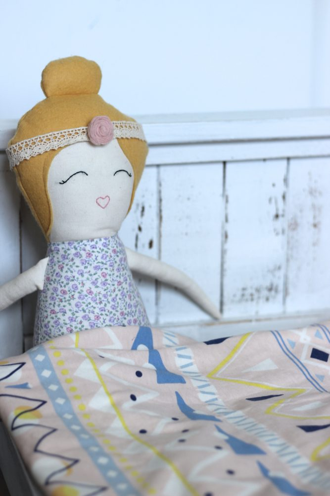 Organic Doll, Doll With Top Bun, Girly Doll, Handmade Doll, Farmhouse Bed, Bed For Doll