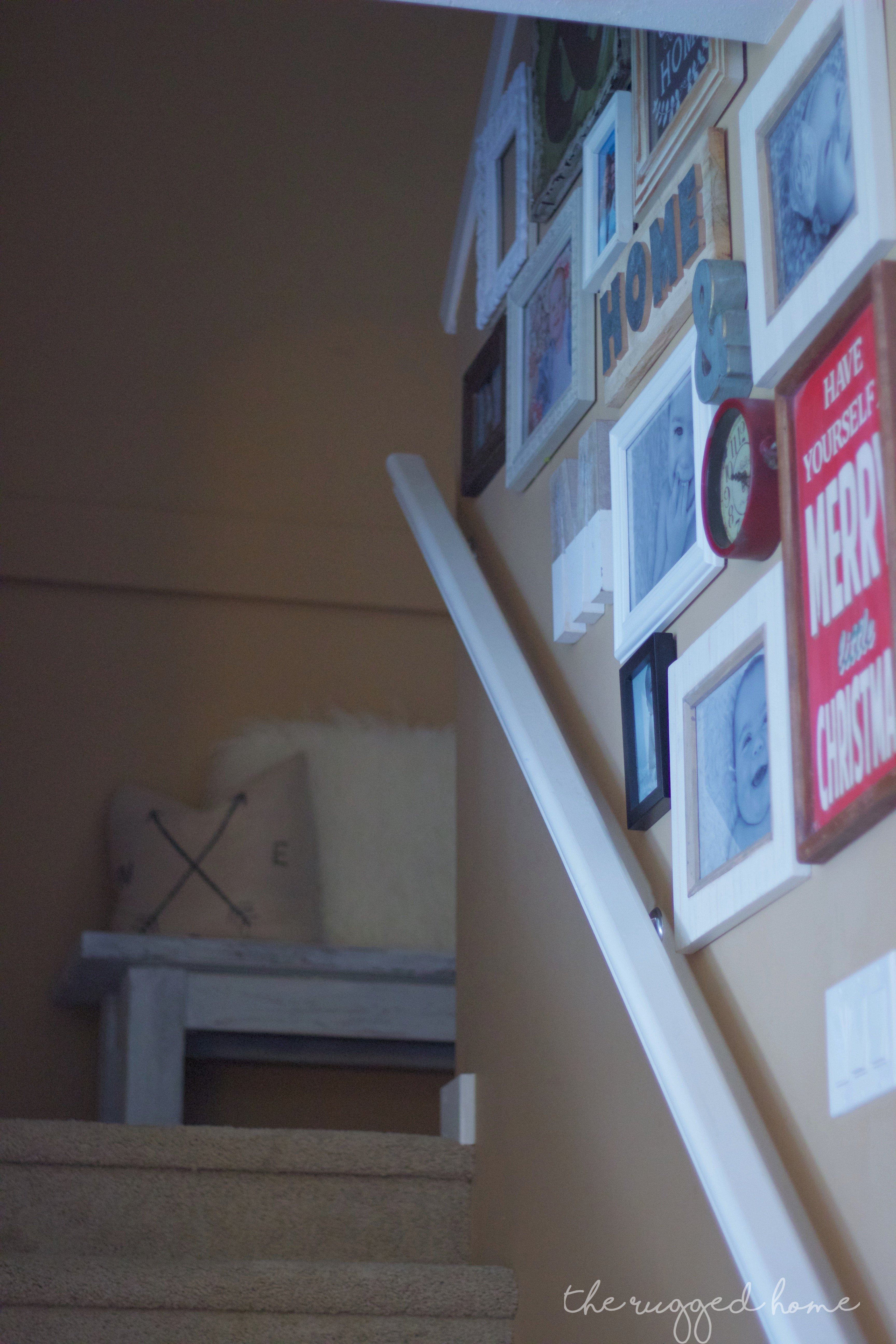 DIY Stairwell, Country Modern Stairwell, Photo Collage Wall