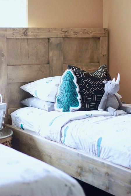 DIY Pottery Barn Twin Beds For the adorable little kids in your life. Super easy to build and under 30 dollars www.whitepicketfarmhouse.com #theruggedhomeblog