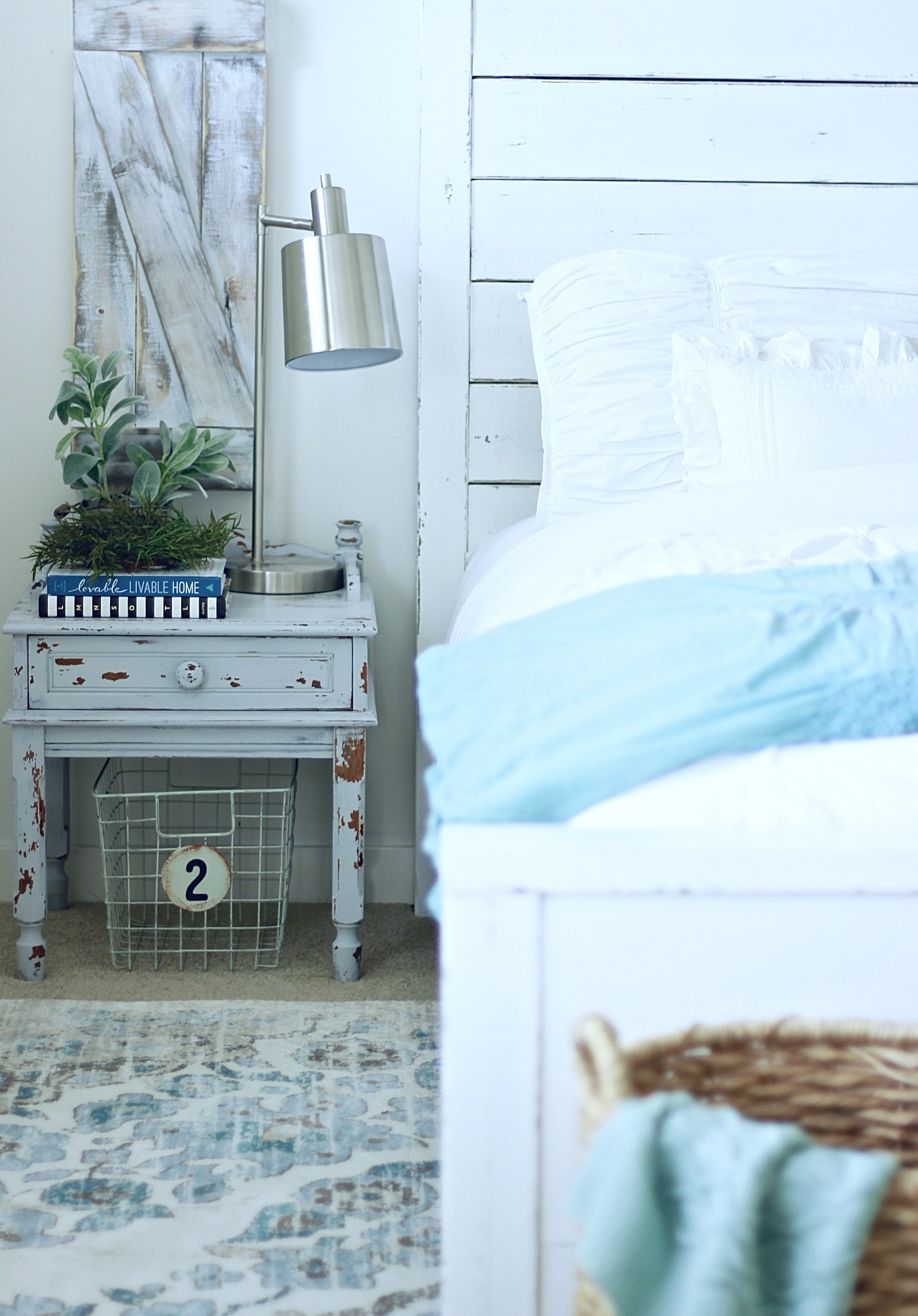 Chippy Blue Side Tables Painted With Milk Paint, How To Tutorial and What is Milk Paint. Old Barn Milk Paint www.theruggedrooser.com