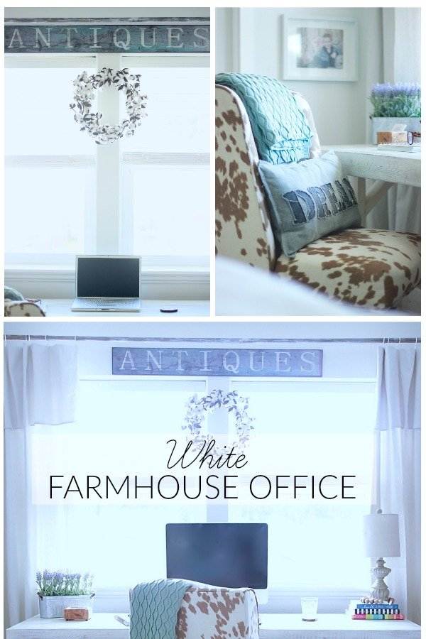 Our White Farmhouse Office. How we transformed our office from ugly to our dream office in a few weeks and under 400 dollars. Tutorials for my drop sheet curtains and DIY Curtain Rod with Corbels. Rustic DIY Desk www.whitepicketfarmhouse.com