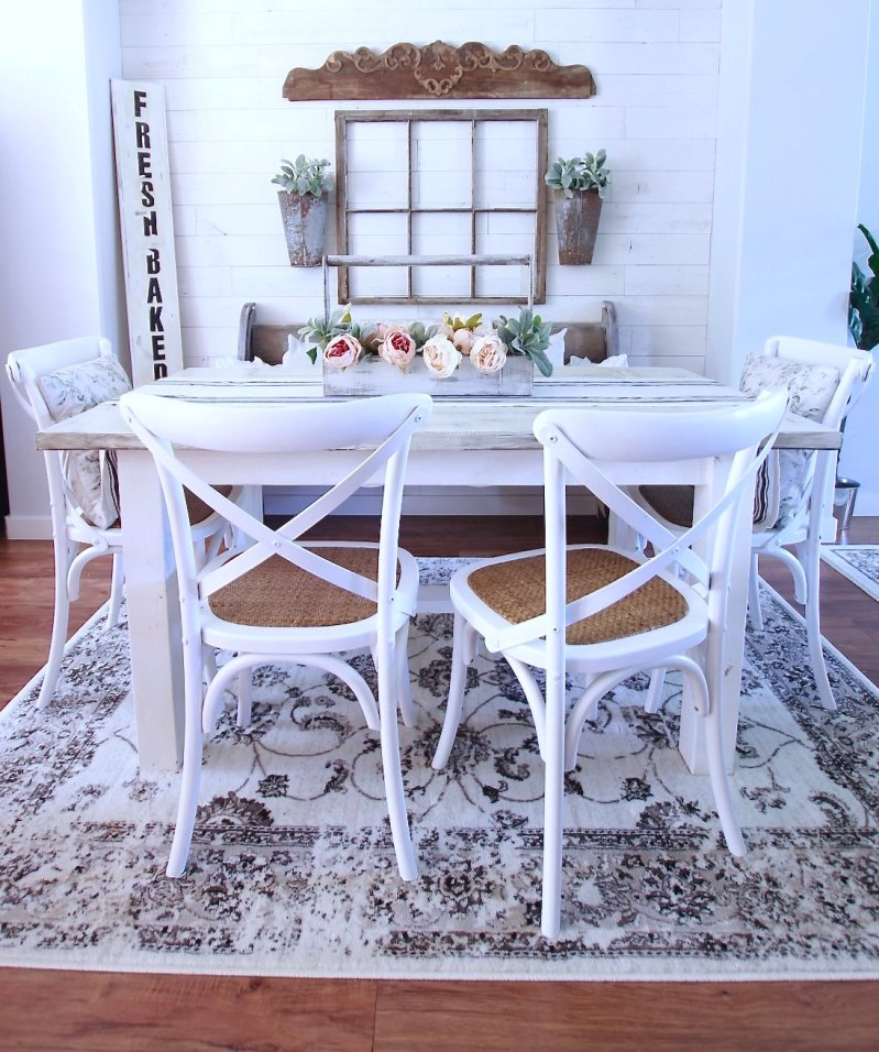 OUR DIY DINING ROOM and our stunning Stikwood wall and Farmhouse decor, shopping links in blog www.whitepicketfarmhouse.com