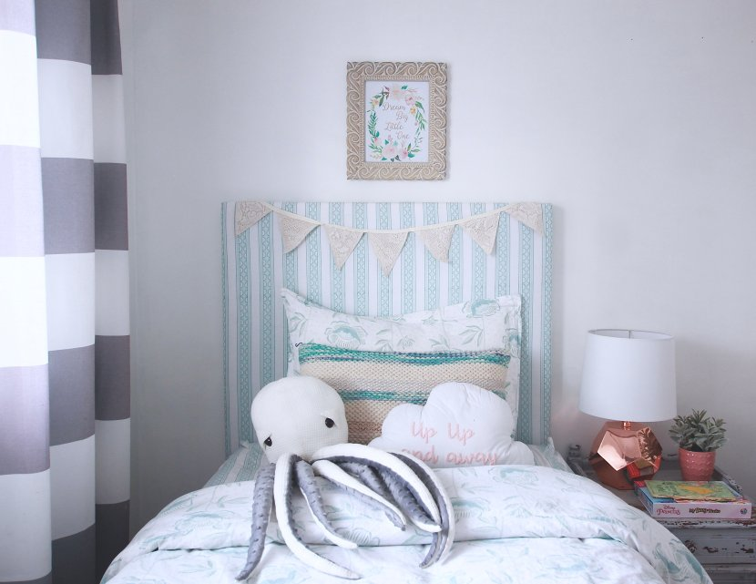 The easiest DIY Upholstered headboard you will find on the internet Step by step tutorial and photos. Will cost under 40 dollars to make and under two hours