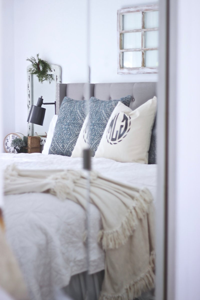 Master Bedroom Reveal Part One, Modern Farmhouse Reveal Featuring the new Magnolia Paint Line by Kilz, Well Woven, VHC Brand Linens, Loloi Rugs and many more, Easy DIY Corbel Curtains and so much more #farmhousebedroom #modernFarmhouse www.whitepicketfarmhouse.com