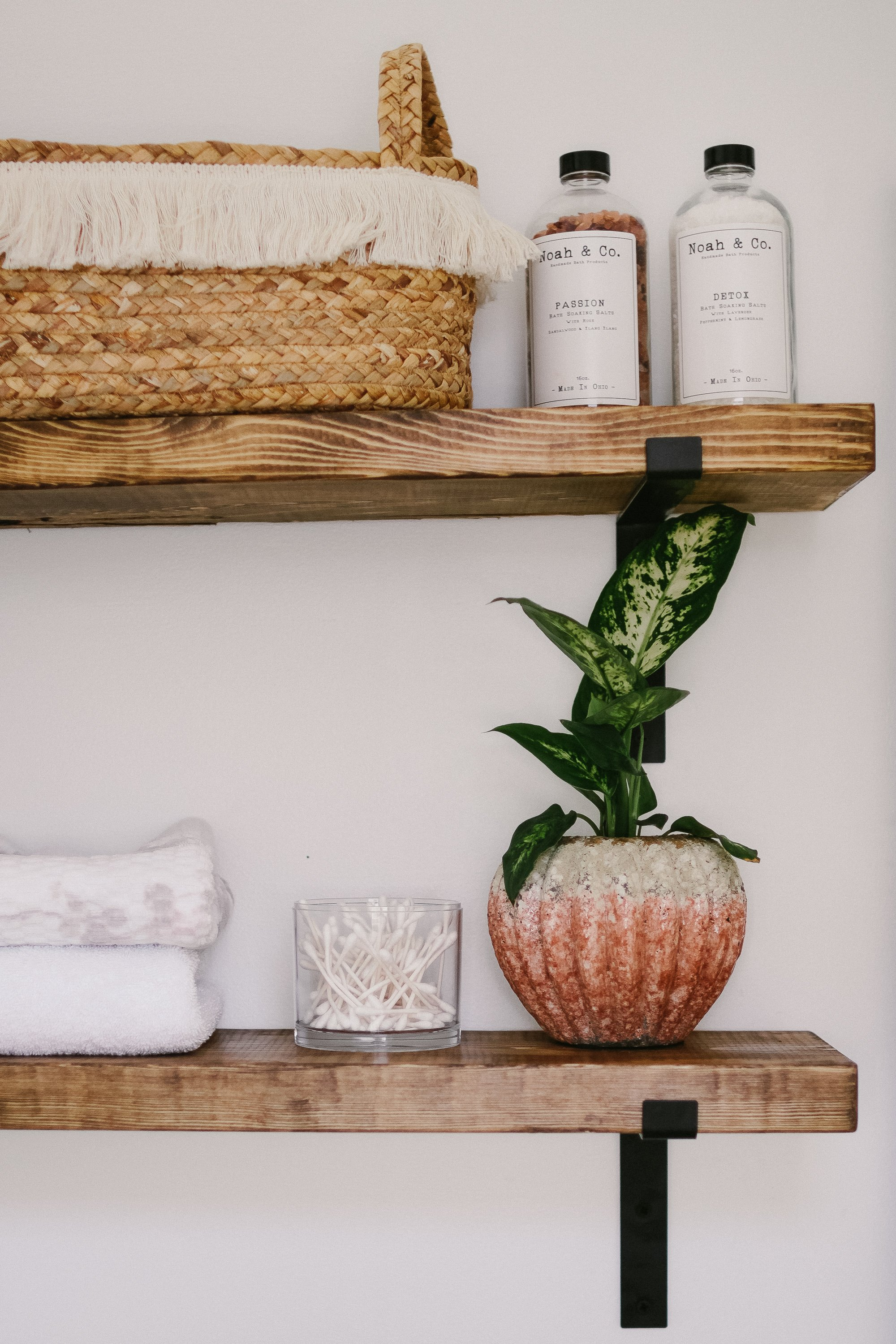 Industrial Shelving In The Bathroom. How to make the easiest DIY Rustic Industrial Shelving in Under 10 minutes and 20 dollars