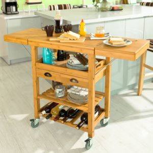 kitchen serving cart discount cabinets beautiful natural bamboo storage trolley
