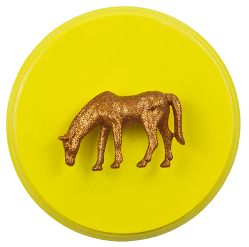 Orange Horse on Yellow by Heather Miller Art