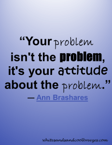 "Quote by Ann Brashares - ""Your problem isn't the problem, it's your attitude about the problem."""