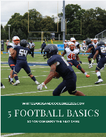 Football players playing a game with text overlay – 5 football basics so you can enjoy the next game.