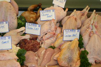 Our range of poultry and game has been sourced from reputable local suppliers. The poultry is either Barn Range or Free Range. The Game is shot locally at Blicking and the surrounding countryside and processed on our premises. Poultry and Game (Chicken, Duck, Game, Venison), G F White Traditional Butchers, Aylsham, North Norfolk Broads, England, UK Our range of poultry and game has been sourced from reputable local suppliers. The poultry is either Barn Range or Free Range. The Game is shot locally at Blicking and the surrounding countryside and processed on our premises. Poultry and Game (Chicken, Duck, Game, Venison), G F White Traditional Butchers, Aylsham, North Norfolk Broads, England, UK