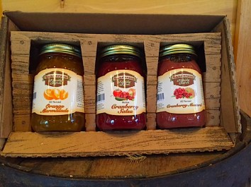Our rustic gift boxes hold 3 mason jars of salsas, jams, mustards or candles. Mix and match for the perfect gift. Some of the flavors include Cranberry Mustard, Cranberry Jalapeno Jam, Cramberry Salsa, Orange Marmalade, Cinnamon Pear Jam, Apple Butter and many more.