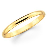 10K Solid Yellow Gold 2mm Plain Men's and Women's Wedding ...