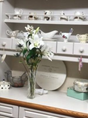 dresser with lilies e1500981356579 225x300 - A Kitchen Makeover in time for Christmas