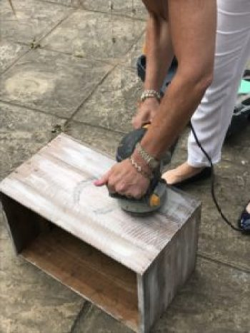 DIY box being sanded 1 e1503413984185 225x300 - A DIY Project - Transforming a Vintage Box into a thing of Beauty